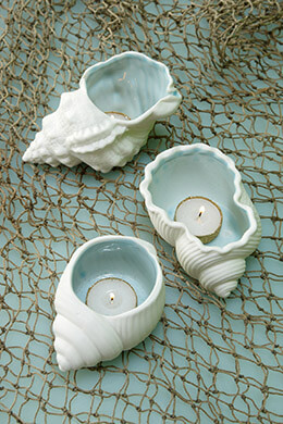 3 Porcelain Seashell Candle Holders