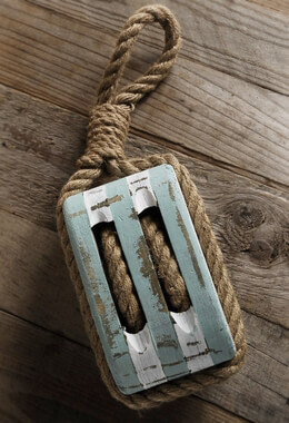 Ships Wood Pulley with Rope, Blue & White,  Nautical Decor