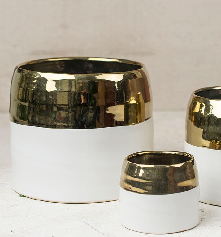 "White and Gold Ceramic Claire Vase & Pot 7.5"" x 6.25"""