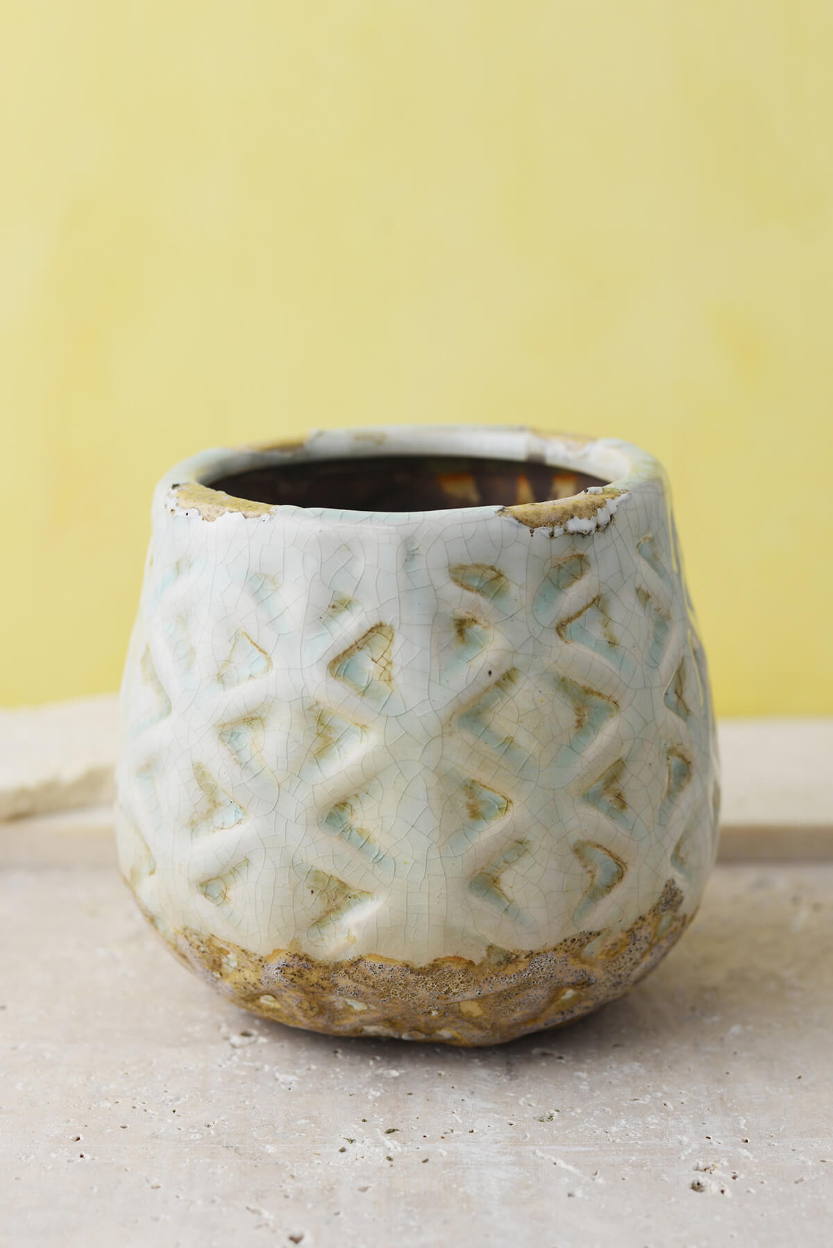 "Cream & Aqua Ceramic 5-1/2"" Congo Pots"