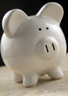 Piggy Bank White 8in