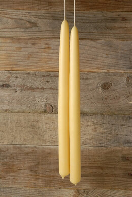 """Pure Beeswax 16"""" (24 hr) Tapers pair (smokeless, no drip, hand dipped)"""