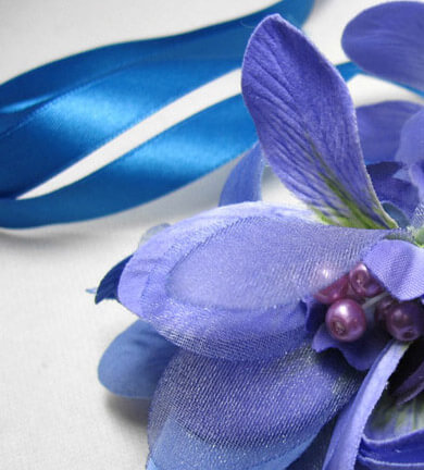 Purple Orchid Flower with Pearls on Blue Satin Ribbon 32""
