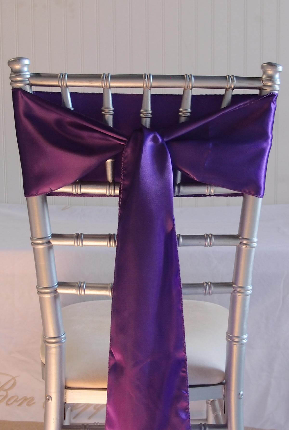 10 Purple Satin Chair Sashes 6x106