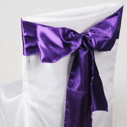 Satin Chair Sashes Purple | Pack of 10