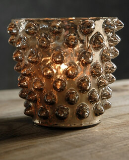 Hobnail Candle Holder Glass Bronze 4.5in