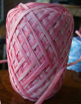 Raffia Ribbon Pink & White 100 yards