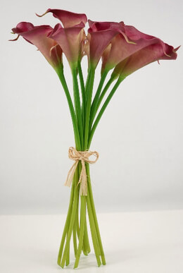 Real Touch Hand-Tied Calla Lily Wedding Bouquet in Dark Fuchsia with 12 Flowers