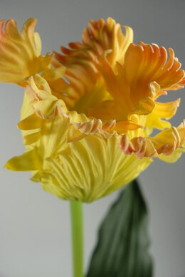 "Real Touch Large 31"" Yellow Parrot Tulips Flowers"