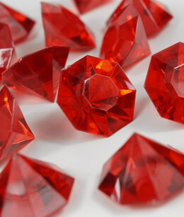 "Red Acrylic Diamonds (1-1/4"" size) 16 Pieces"