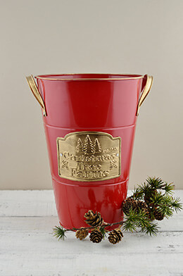 "Red 11.5"" French Flower Bucket Christmas Tree Farm Logo"