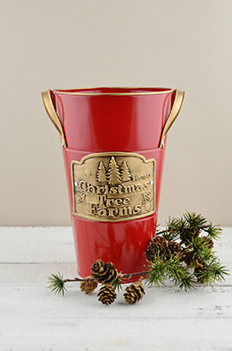 "Red 10"" French Flower Bucket Christmas Tree Farm Logo"