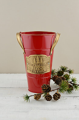 "Red 8"" French Flower Bucket  Christmas Tree Farm Logo"