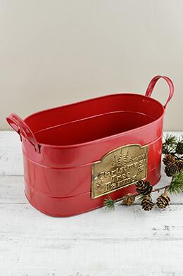"Christmas Tree Farm Red Galzanized Oval Container w/ Handles 11"""