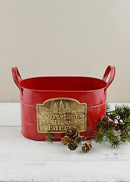 "Christmas Tree Farm Red Galzanized Oval Container w/ Handles   9"""