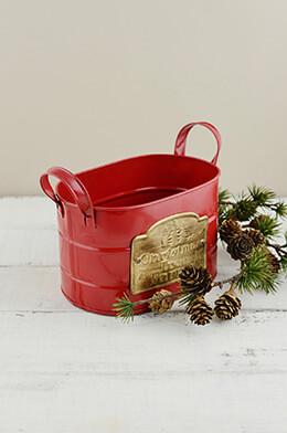"Christmas Tree Farm Red Galzanized Oval Container w/ Handles 7"""