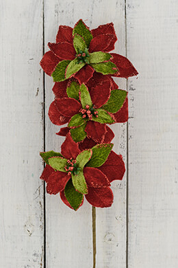 Red and Green Poinsettia Pick 21in