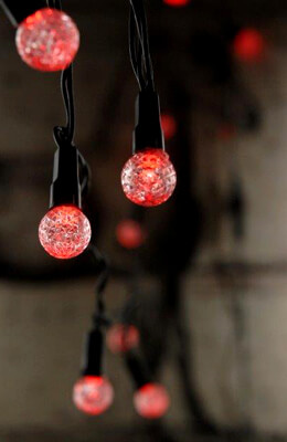 Mini Accent Lights Cut Glass Battery Operated Red LED