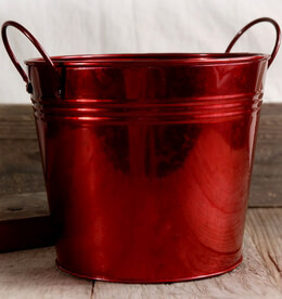Red Metal Buckets 6.5""