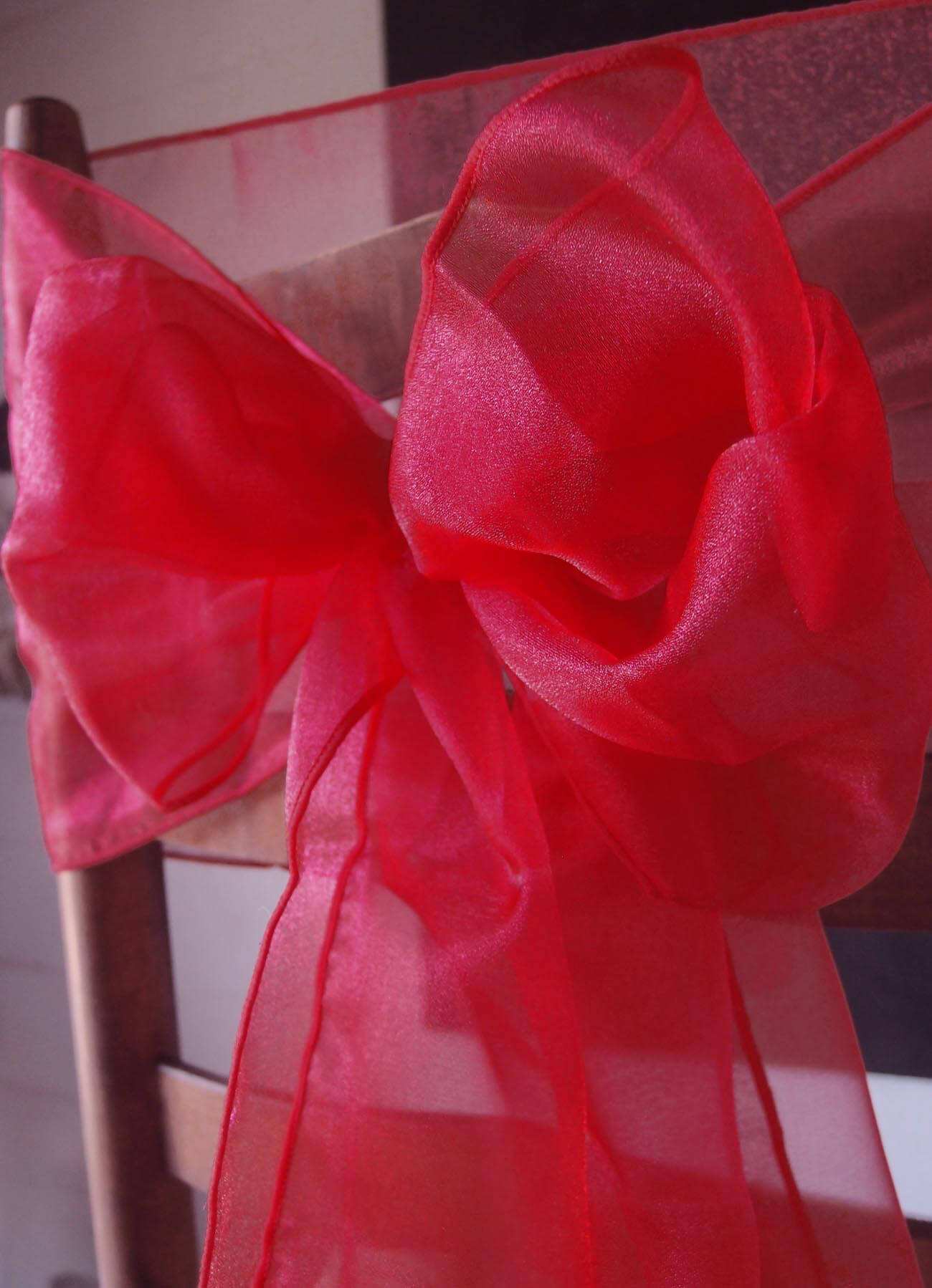 10 Red Organza Chair Sashes (Pack of 10)