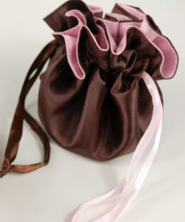 "Reversible 4"" Satin Bags Chocolate Brown & Pink (12 bags)"