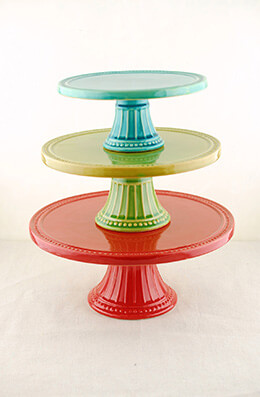3 Colorful Ceramic Cake Stands