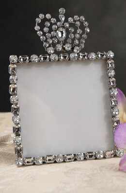 Diamond Crown Top 4x4 Rhinestone Frame, Table Number Frames