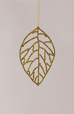 Rhinestone Leaf Ornament Gold 5.5in