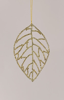 Rhinestone Leaf Ornament Silver 5.5in