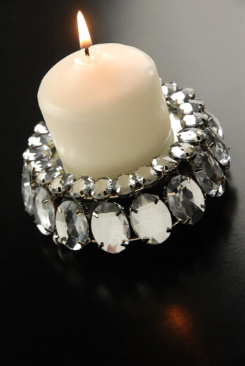 "Crystal Rhinestone 4"" Votive Candle Holder with Mirror"
