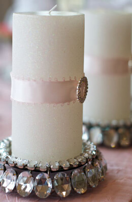 "Crystal Rhinestone Pillar 5.25"" Candle Holders with Mirror"