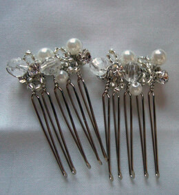 "Rhinestone & Pearl 1"" Wire Hair Combs"