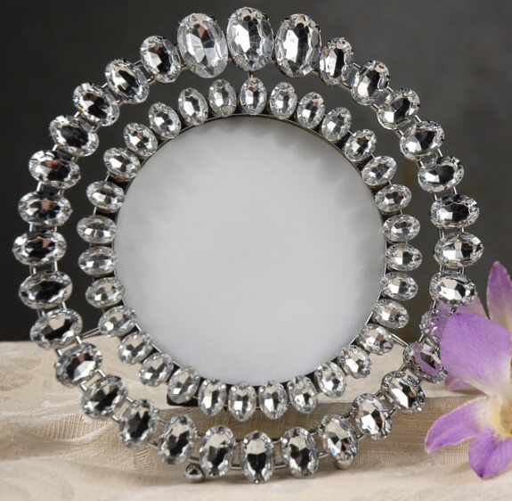"Rhinestone Table Number Frames 6.5"" Round"