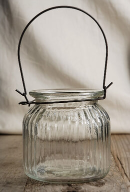 Ribbed Glass Hanging Candle Holder 4in