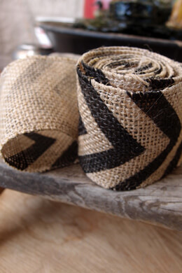 "Black Chevron Burlap Ribbon   2.4"" x 6'"