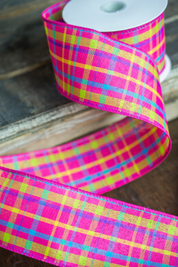 Pink Plaid Canvas Ribbon 2.5 x 10 yds Wired