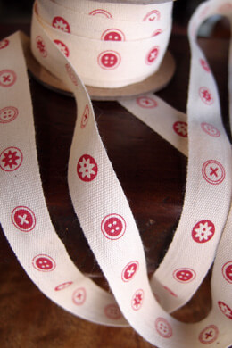 Printed Cotton Red Button Ribbon 5/8in x 10yd Red & Ivory