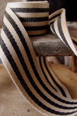 "Burlap & Black Striped Ribbon 1.5"" Width x 10 Yards"