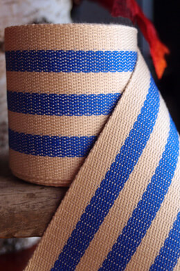 "Burlap & Blue Striped Ribbon 1.5"" Width x 10 Yards"