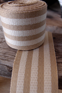 "Burlap & Ivory Striped Ribbon 1.5"" Width x 10 Yards"