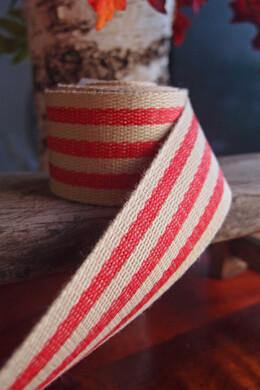 "Burlap & Red Striped Ribbon 1.5"" Width x 10 Yards"