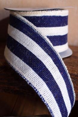 "Navy & White Striped Burlap Ribbon 2.5"" Width x 10 Yds"