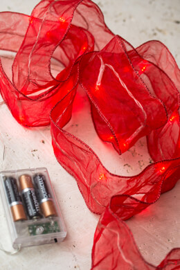 "Red LED Ribbon 8.5 FT Battery Operated  2.5"" Wide"