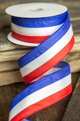 """Red, White, Blue Satin Wired Ribbon 1.5"""" x 10 yds"""