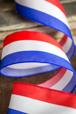 "Red, White, Blue Satin Wired Ribbon 2.5"" x 10 yds"