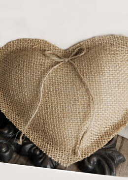 Handmade Burlap Heart Ring Bearer Pillow