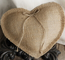 Burlap Heart Ring Bearer Pillow