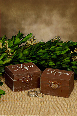 Wood Ring Boxes His & Hers Set