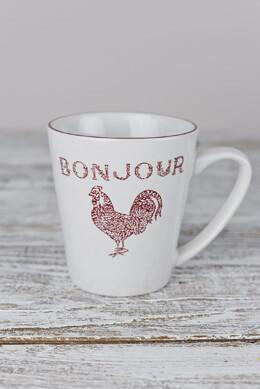 4 Red Bonjour Coffee Mugs  12 oz.