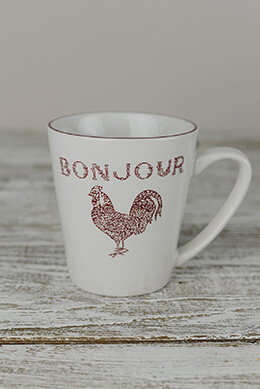 4 Red Bonjour Coffee Mugs  12 oz.